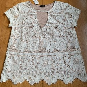 NWT Express Cream Color Lace Overlap Top